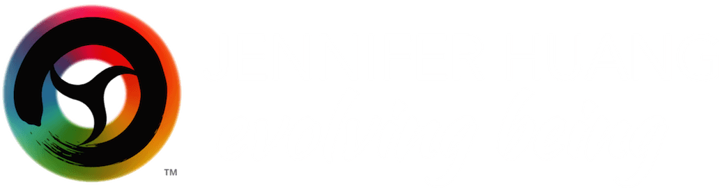 "logo of brush stroke in a circle with a design in center of the circle to separate that area into 3 seed-like shapes, set against a color wheel, TM trademark symbol, ""Jennifer Huang"" in white font, over ""evolving being"" in white script font"