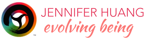 "logo of brush stroke in a circle with a design in center of the circle to separate that area into 3 seed-like shapes, set against a color wheel, TM trademark symbol, ""Jennifer Huang"" in pinkish-red, over ""evolving being"" in dark peach and script font"